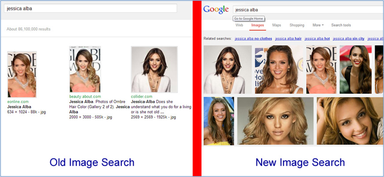 Image search - a comparison of the old vs the new interface