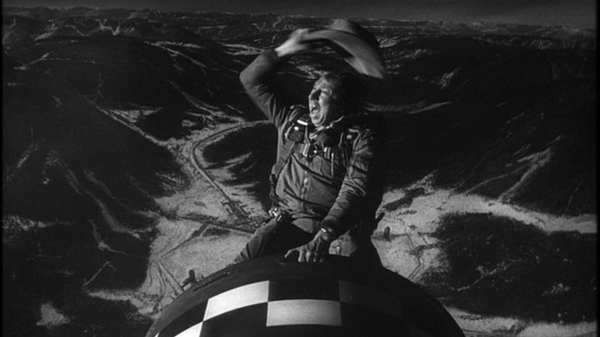 Slim Pickens Riding the Atom Bomb in Dr. Strangelove